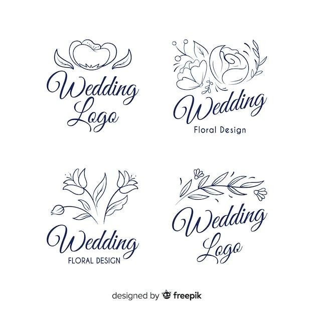 Logos de fleuriste de mariage Vecteur gratuit