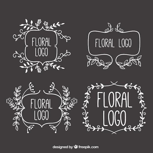 Logos floraux sketchy sur tableau noir t l charger des for Ecrire sur un tableau noir