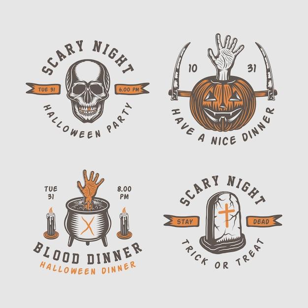 Logos de halloween Vecteur Premium