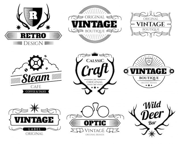 Logos de hipster vintage vector Vecteur Premium