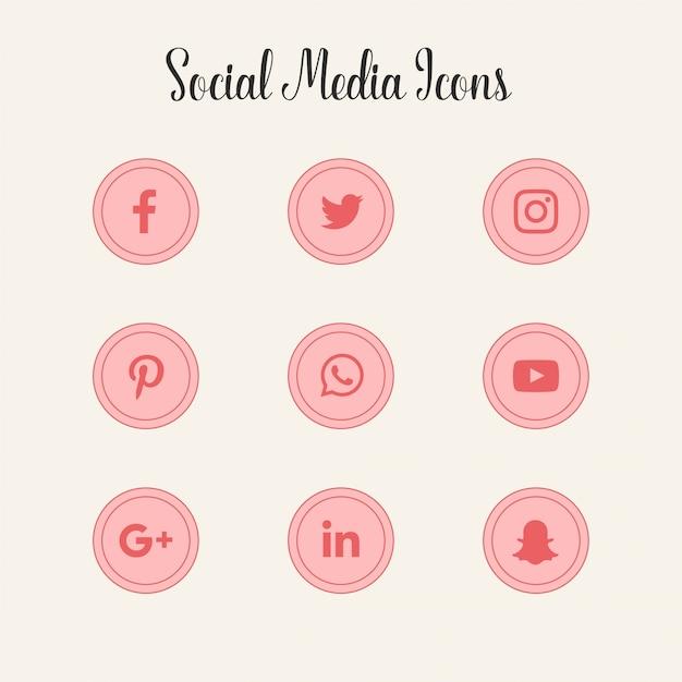 Logos d'icônes de médias sociaux roses Vecteur gratuit
