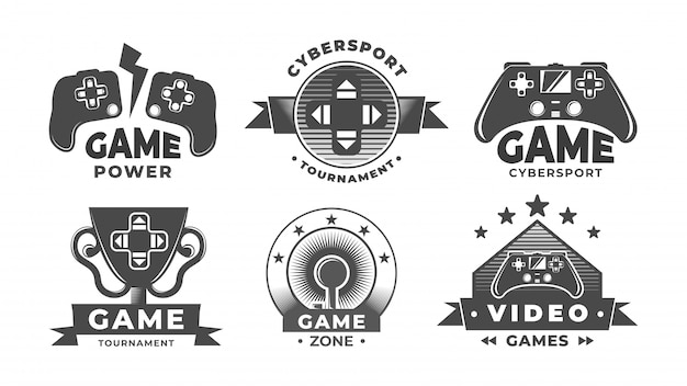 Logos De Jeu. étiquettes De Cyber Sport. Vecteur Premium