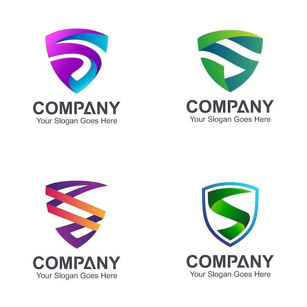 Logos lettre bouclier Vecteur Premium