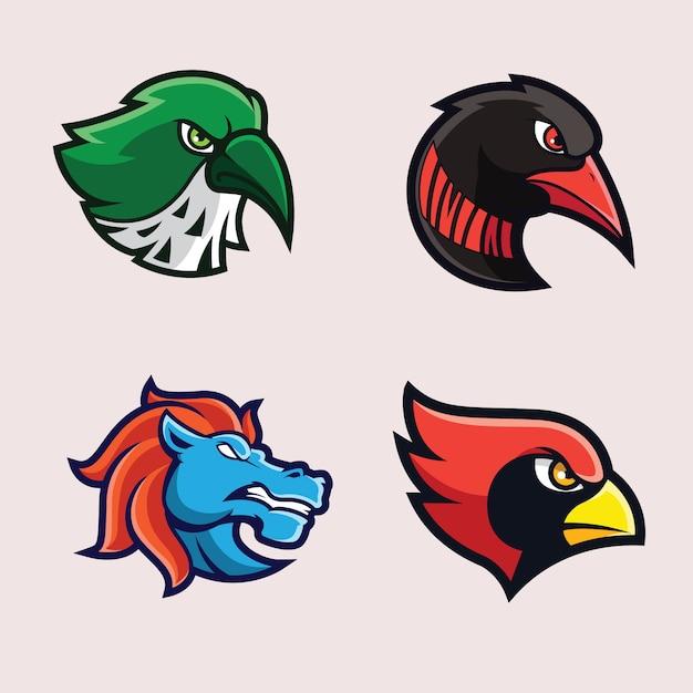 Logos Mascotte Oiseaux Et Animaux Vecteur Premium