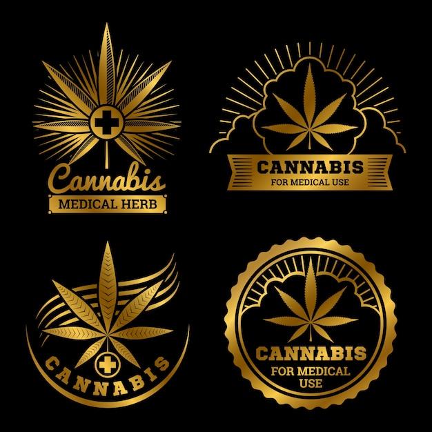 Logos Médicaux De Cannabis D'or Mis Illustration Vecteur Premium