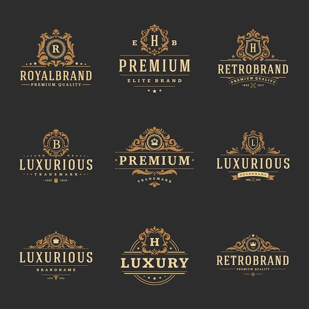 Logos Monogrammes De Luxe Vecteur Premium