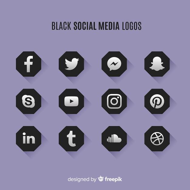 Logos noirs sur les réseaux sociaux Vecteur gratuit