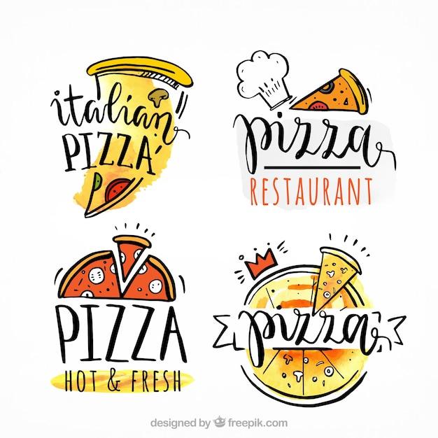 Logos de pizza dessinés à la main Vecteur gratuit