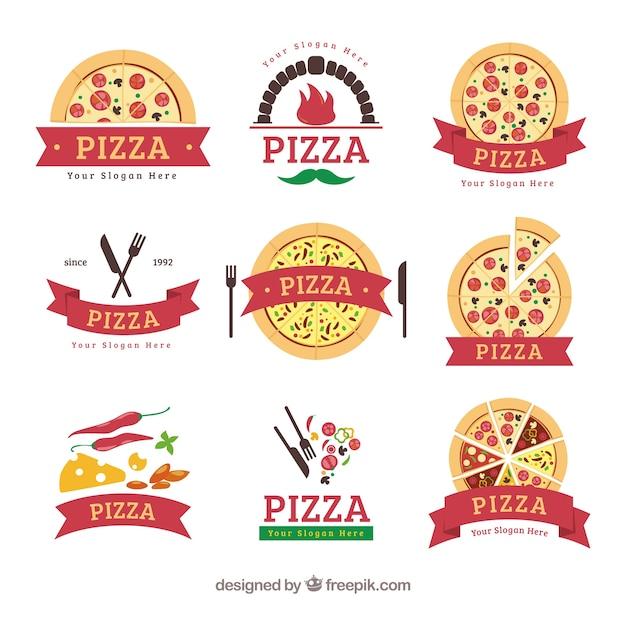 Logos de pizza avec des rubans Vecteur gratuit