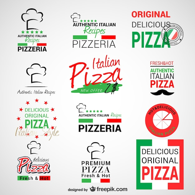 Logos de pizzerias Vecteur gratuit