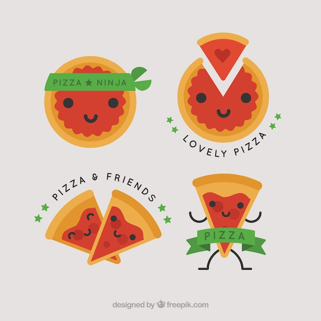 Logos Pour Pizza Avec Des Rubans Verts Vecteur gratuit