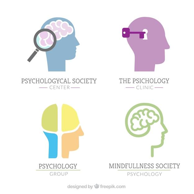 Logos De Psychologie Avec Cerveau Humain Vecteur gratuit