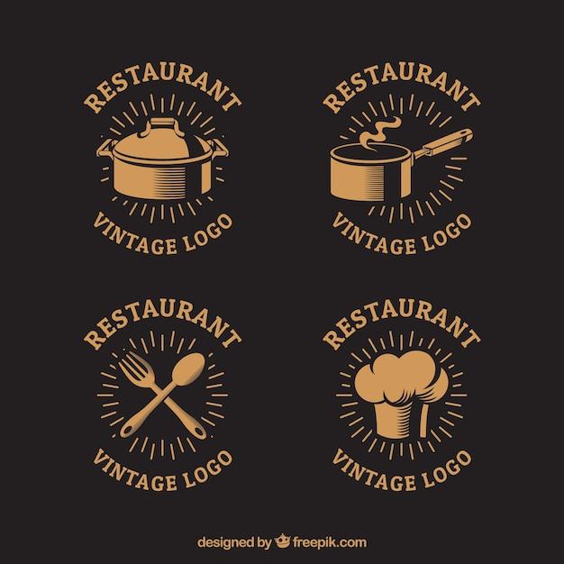 Logos de restaurants vintage de style classique Vecteur gratuit