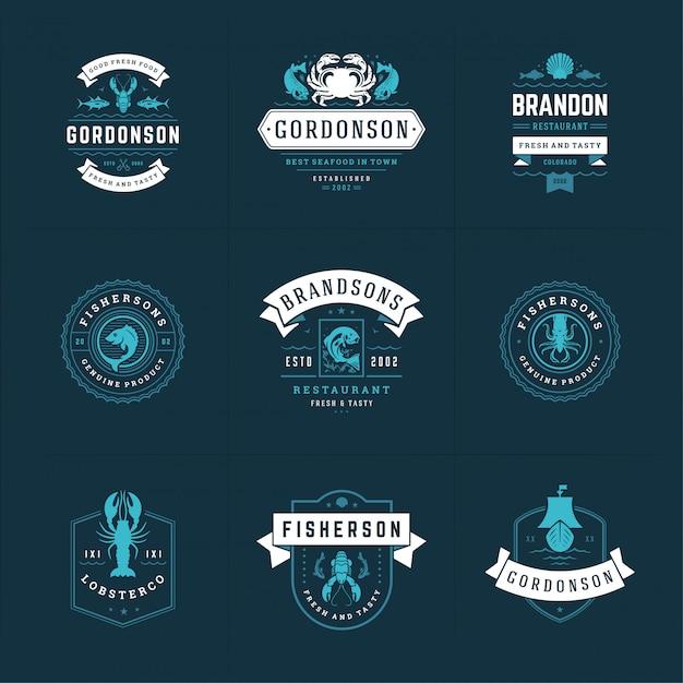 Logos Ou Signes De Fruits De Mer Définissent Des Modèles De Marché Aux Poissons Et De Restaurant Vecteur Premium