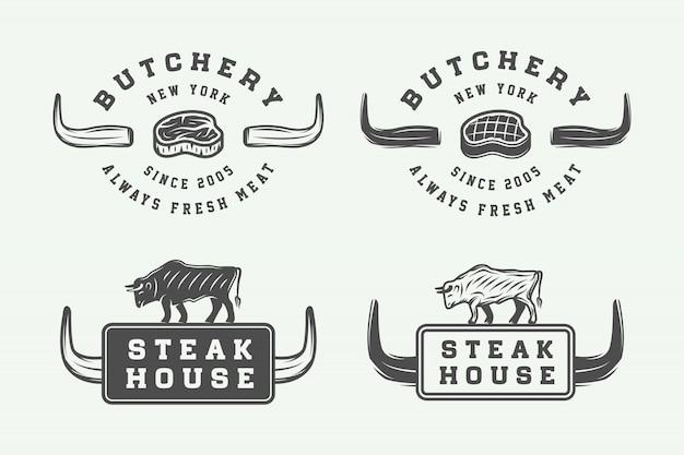 Logos de viande de boucherie Vecteur Premium