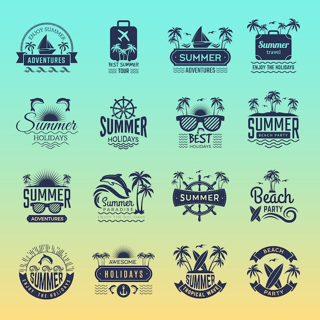 Logos De Voyage D'été. Badges Et Symboles De Vacances Tropicales Rétro Palmier Boit Une Visite De La Plage Sur La Collection D'images Vectorielles De L'île Vecteur Premium