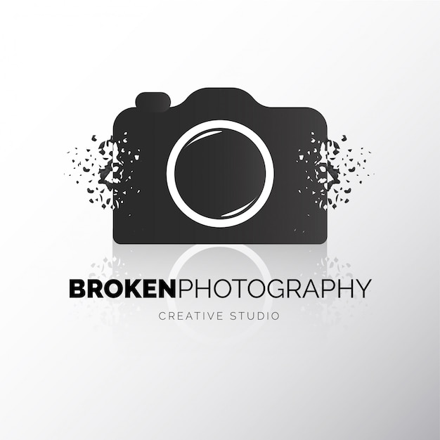 Logotype cassé de caméra moderne Vecteur gratuit