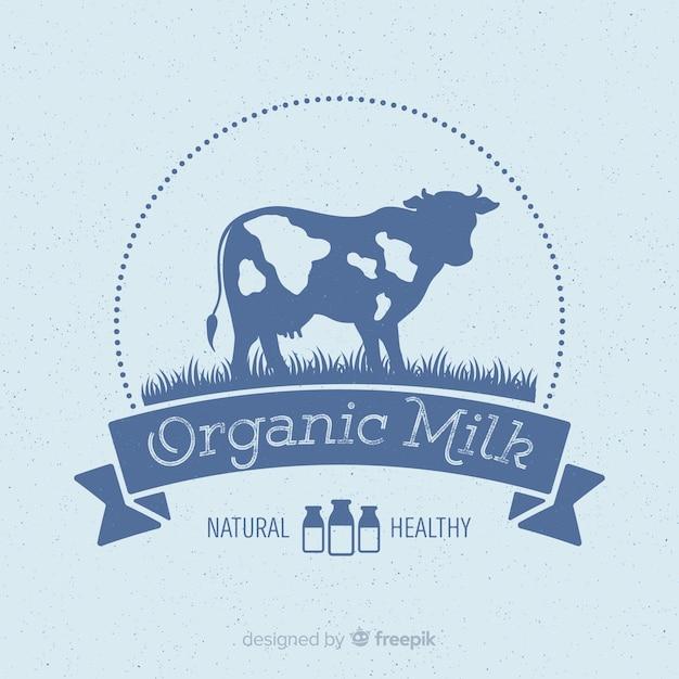 Logotype du lait biologique Vecteur gratuit