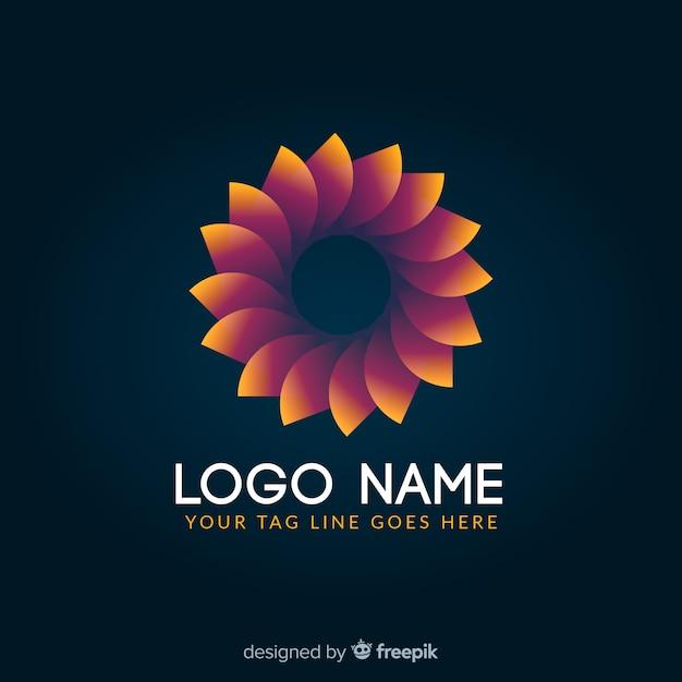 Logotype géométrique coloré rougeoyant dégradé Vecteur gratuit
