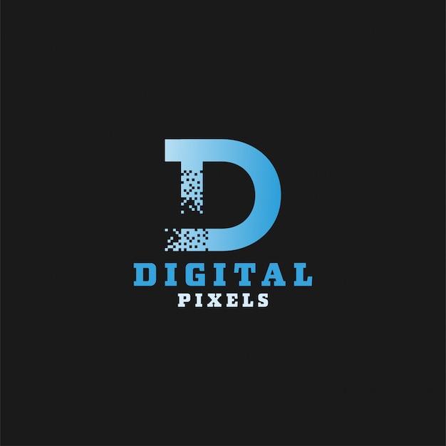 Logotype de pixels numériques Vecteur Premium