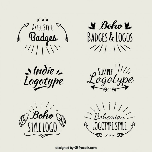 logotypes boho Manuscrit Vecteur gratuit