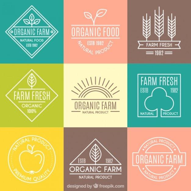 Logotypes organiques mignons avec les grandes lignes pour la ferme Vecteur gratuit