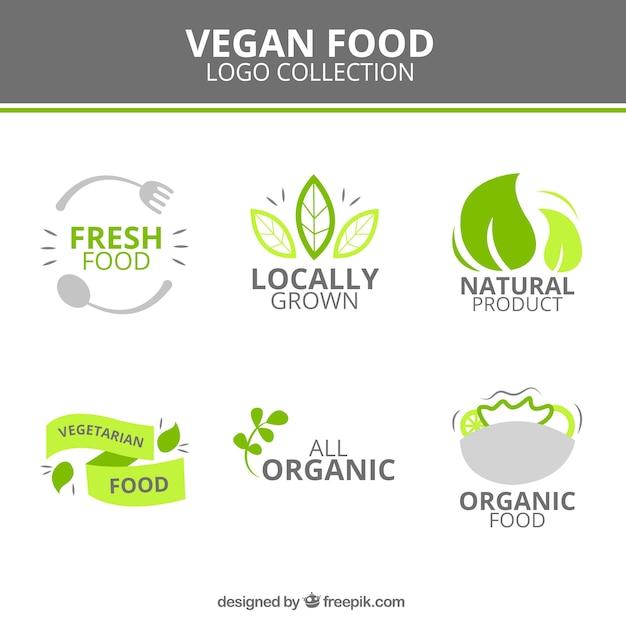 Logotypes végétaliens mignon alimentaires Vecteur gratuit