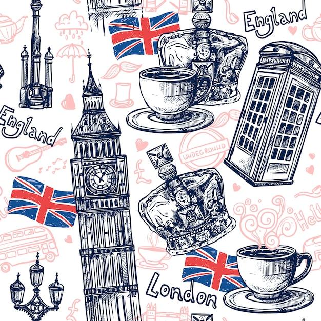 London Seamless Pattern Vecteur gratuit