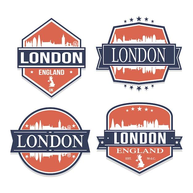 Londres angleterre royaume-uni ensemble de dessins de timbres de voyage et d'affaires Vecteur Premium