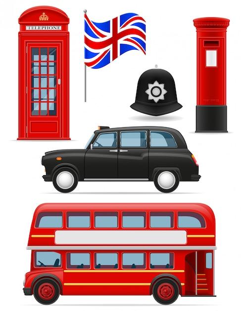 Londres définie des icônes. Vecteur Premium