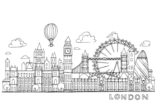 Londres doodles dessin paysage t l charger des vecteurs - Image de londres a imprimer gratuit ...