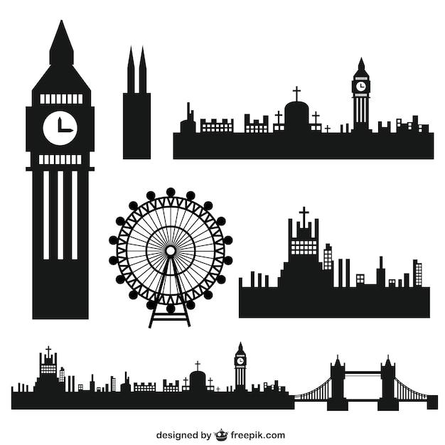 Londres silhouettes de la ville Vecteur gratuit