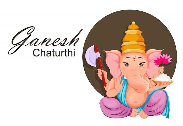 Lord Ganesha Pour Les Vacances De Ganesha Chaturthi Vecteur Premium