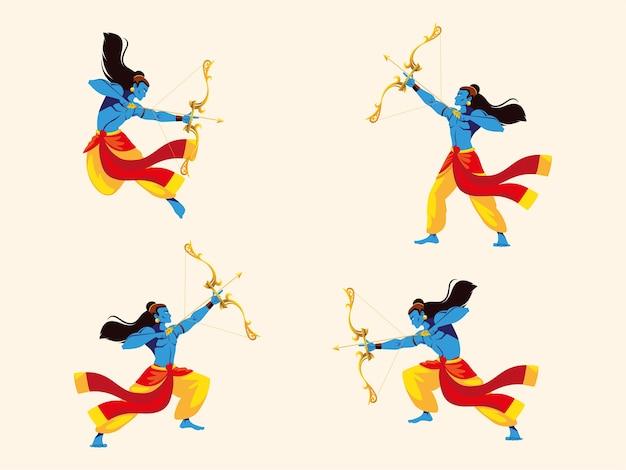 Lord Rama Avec Arc Et Flèche, Ensemble De Quatre Poses Vecteur Premium