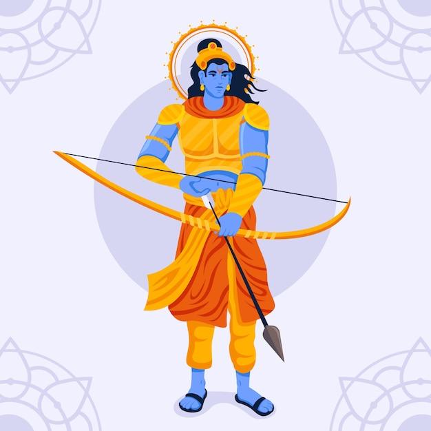 Lord Rama Prépare Sa Flèche Et Son Arc Vecteur gratuit
