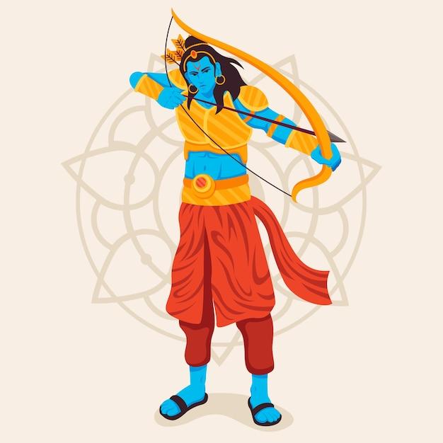 Lord Rama Utilisant L'arc Et La Flèche D'or Vecteur gratuit
