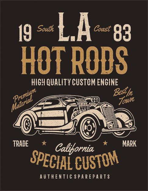 Los angeles hot rods. moteur personnalisé de haute qualité. conception d'illustration vintage Vecteur Premium