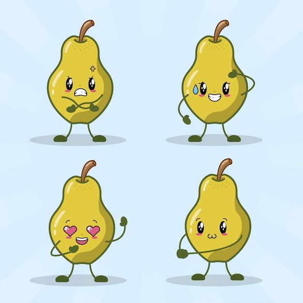 Lot de 4 poires kawaii avec différentes expressions heureuses Vecteur gratuit