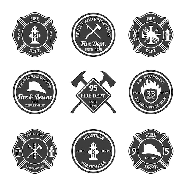 Lot de badges de sapeur-pompier Vecteur gratuit