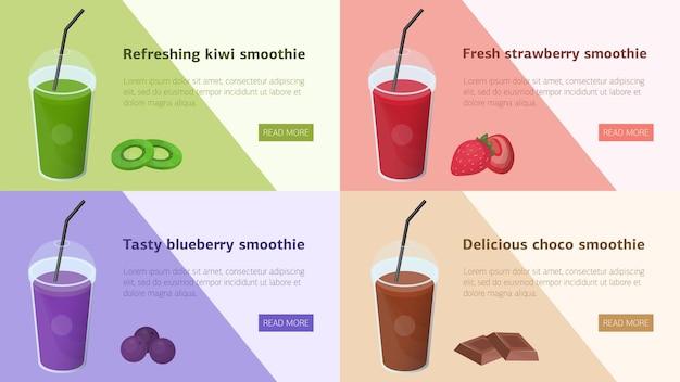 Lot De Bannières Web Horizontales Colorées Avec Des Smoothies à Base De Fruits Tropicaux, De Baies Et De Chocolat. Vecteur Premium