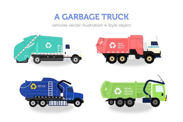 Lot de camion à ordures Vecteur Premium