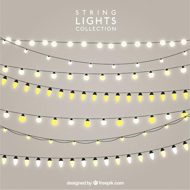 Lot De Chaînes Avec Des Ampoules Lumineuses Vecteur Premium