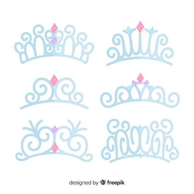 Lot de diadèmes princesse plates en argent Vecteur gratuit