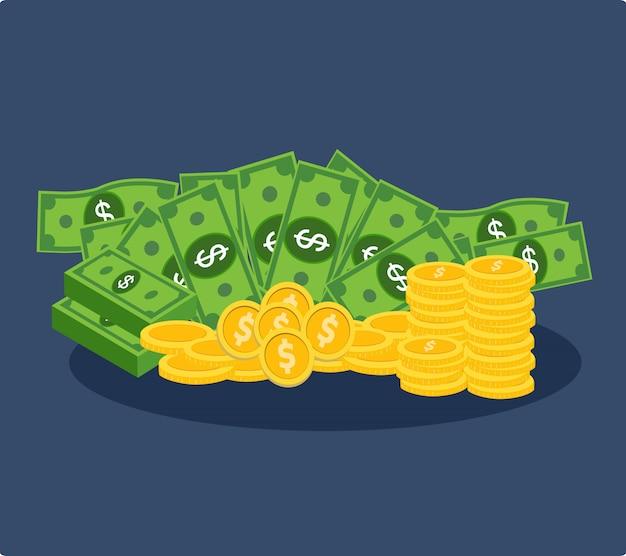 Lot de dollars et de pièces d'or Vecteur Premium