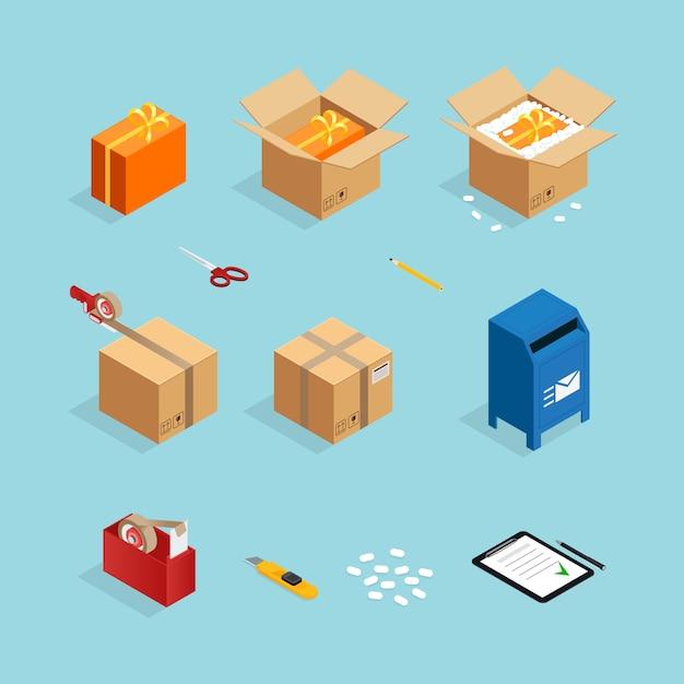 Lot d'emballage de colis postaux Vecteur gratuit