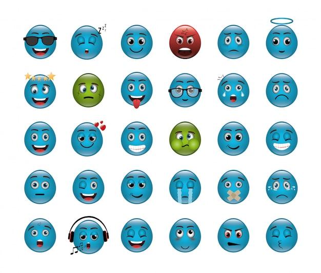 Lot d'émoticônes avec des expressions Vecteur gratuit