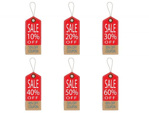 Lot d'étiquette de prix discount discount Vecteur Premium