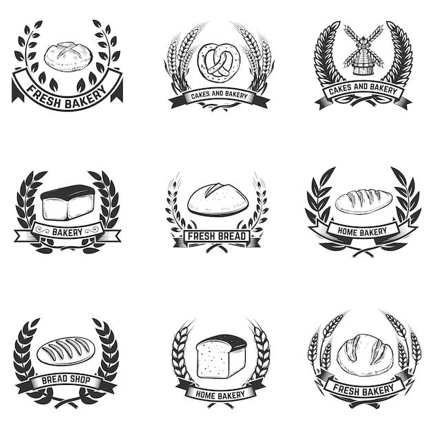 Lot D'étiquettes De Boulangerie. Boulangerie, Pain Frais. éléments Pour étiquette, Emblème, Signe. Illustration Vecteur Premium