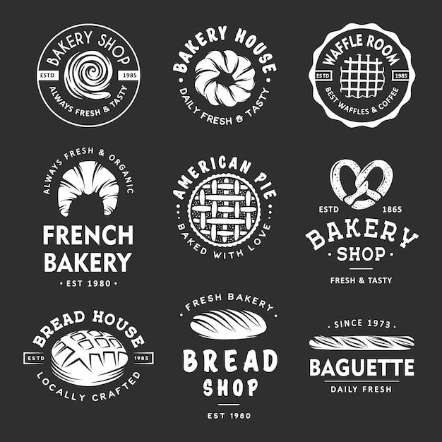 Lot D'étiquettes De Boulangerie, Insignes, Emblèmes Et Logo Vecteur Premium