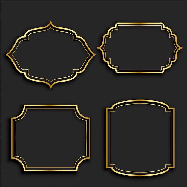 Lot d'étiquettes cadre vintage doré Vecteur gratuit